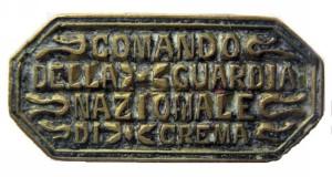 XVI - Comando Guardia  Nazionale_ Crema 1861